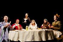 TOP GIRLS by Caryl Churchill~l-r: Helen Anderson (Lady Nijo), Joanna Scanlan (Pope Joan), Hattie Ladbury (Marlene), Sophie Shaw (Patient Griselda), Pascale Burgess (Dull Gret), Elizabeth Berrington (I...