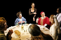 TOP GIRLS by Caryl Churchill~clockwise, from left: Elizabeth Berrington (Isabella Bird), Helen Anderson (Lady Nijo), Hattie Ladbury (Marlene), Joanna Scanlan (Pope Joan), Sophie Shaw (Patient Griselda...