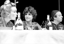 l-r: Lindsay Duncan (Lady Nijo), Gwen Taylor (Marlene), Selina Cadell (Pope Joan) in TOP GIRLS by Caryl Churchill at the Royal Court Theatre, London  SW1  01/09/1982  ~set design: Peter Hartwell  cost...
