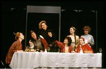 TOP GIRLS  by Caryl Churchill  set design: Peter Hartwell  costumes: Pam Tait  lighting: Robin Myerscough-Walker  director: Max Stafford-Clark <br>~l-r: Lindsay Duncan (Lady Nijo), Carole Hayman (Dull...