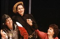 'TOP GIRLS' (Caryl Churchill)~l-r: Carole Hayman (Dull Gret), Deborah Findlay (Isabella Bird), Gwen Taylor (Marlene)~Royal Court Theatre, London  SW1                            08/02/1983