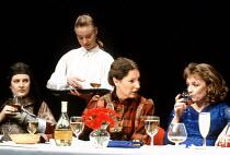 TOP GIRLS  by Caryl Churchill  design: Anabel Temple  lighting: Robin Myerscough-Walker  director: Max Stafford-Clark <br>~Act 1/i - l-r: Lesley Sharp (Dull Gret), Beth Goddard (Waitress), Deborah Fin...
