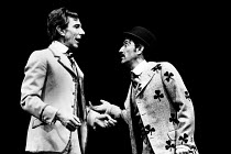 'TRAVESTIES' (Stoppard)~l-r: John Wood (Henry Carr), Tom Bell (James Joyce)~Royal Shakespeare Company (RSC), Aldwych Theatre, London WC2       06/1974