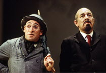 'TRAVESTIES' (Stoppard)~l-r: Antony Sher (Henry Carr), Geoffrey Freshwater (Vladimir Ilyich Ulyanov/Lenin)~Royal Shakespeare Company (RSC), Barbican Theatre, London EC2                     09/09/1993