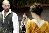 'UNCLE VANYA' (Friel/after Chekhov - directed by Sam Mendes)~l-r: Mark Strong (Astrov), Simon Russell Beale (Vanya), Helen McCrory (Yelena)~Donmar Warehouse. London WC2          17/09/2002