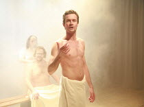 PEER GYNT   by Henrik Ibsen   director: Baltasar Kormakur <br>,in the sauna: Bjorn Hlynur Haraldsson (Peer Gynt) ,National Theatre of Iceland / BITE:07 / The Pit / Barbican Centre, London EC2   02/03/...