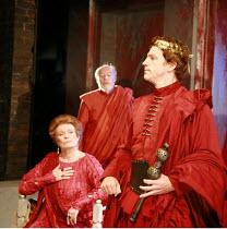 CORIOLANUS   by Shakespeare   director: Gregory Doran <br>,III/ii - l-r: Janet Suzman (Volumnia), Timothy West (Menenius), William Houston (Coriolanus),Royal Shakespeare Company /  Royal Shakespeare T...