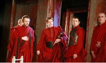 CORIOLANUS   by Shakespeare   director: Gregory Doran <br>,III/ii - l-r: Michael Hadley (Cominius), William Houston (Coriolanus), Oliver Senton (Titus Lartius), Jonathan Melia (1st Roman Senator),Roya...
