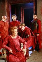 CORIOLANUS   by Shakespeare   director: Gregory Doran <br>,III/ii - l-r: Timothy West (Menenius), Janet Suzman (Volumnia), (rear) Michael Hadley (Cominius), ,William Houston (Coriolanus), Oliver Sento...