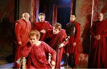 CORIOLANUS   by Shakespeare   director: Gregory Doran <br>,III/ii - l-r: Timothy West (Menenius), Janet Suzman (Volumnia), (rear) Michael Hadley (Cominius), William Houston (Coriolanus), Oliver Senton...