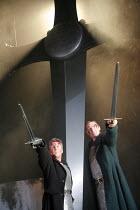 MACBETH   by Shakespeare   director: Ian Brown <br>,l-r: David Westhead (Macbeth), Matthew Flynn (Banquo),West Yorkshire Playhouse / Leeds, England                28/02/2007             ,