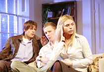 TREATS   by Christopher Hampton   director: Laurence Boswell <br>,l-r: Kris Marshall (Dave), Laurence Boswell (Patrick), Billie Piper (Ann),Garrick Theatre, London WC2    08/03/2007              ,