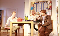 TREATS   by Christopher Hampton   director: Laurence Boswell <br>,l-r: Laurence Fox (Patrick), Billie Piper (Ann), Kris Marshall (Dave),Garrick Theatre, London WC2    08/03/2007              ,