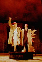 'THE COMEDY OF ERRORS' (Shakespeare)~Antipholus and Dromio of Syracuse pretend to be statues~l-r: David Tennant, Ian Hughes~RSC/RST  04/2000, Barbican Theatre, London 01/12/2000