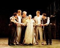 'THE COMEDY OF ERRORS' (Shakespeare) final scene/reconciliation - l-r: Ian Hughes (Dromio of Syracuse), David Tennant (Antipholus of Syracuse), Paul Greenwood (Egeon),  Ann Firbank (Emelia), Anthony...