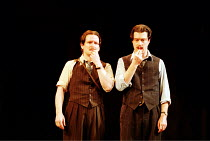 'THE COMEDY OF ERRORS' (Shakespeare)~final scene/reconciliation - l-r: Ian Hughes (Dromio of Syracuse), Tom Smith (Dromio of Ephesus)~Royal Shakespeare Company / Royal Shakespeare Theatre, Stratford-u...