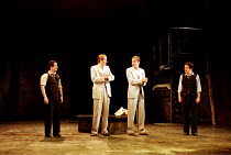 'THE COMEDY OF ERRORS' (Shakespeare),final scene/reconciliation - l-r: Ian Hughes (Dromio of Syracuse), David Tennant (Antipholus of Syracuse), Anthony Howell (Antipholus of Ephesus), Tom Smith (Dromi...