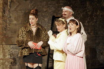 'THE COMEDY OF ERRORS' (Shakespeare - director: Barrie Rutter),l-r: Ruth Alexander-Rubin (Courtesan), Zoe Lambert (Adriana), Andrew Vincent (Dr Pinch), Claire Storey (Luciana),Northern Broadsides, Hal...