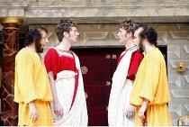 THE COMEDY OF ERRORS   by Shakespeare   director: Christopher Luscombe,V/i - l-r: Eliot Giuralarocca (Dromio of Ephesus), Simon Wilson (Antipholus of Ephesus), Andrew Havill (Antipholus of Syracuse),...