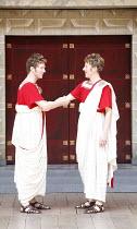 THE COMEDY OF ERRORS   by Shakespeare   director: Christopher Luscombe,V/i - l-r: Simon Wilson (Antipholus of Ephesus), Andrew Havill (Antipholus of Syracuse),Shakespeare^s Globe, London SE1...