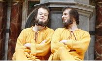 THE COMEDY OF ERRORS   by Shakespeare   director: Christopher Luscombe,V/i - l-r: Sam Alexander (Dromio of Syracuse), Eliot Giuralarocca (Dromio of Ephesus),Shakespeare^s Globe, London SE1...