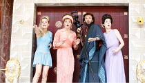 THE COMEDY OF ERRORS   by Shakespeare   director: Christopher Luscombe,IV/iv - l-r: Cate Debenham-Taylor (Courtesan), Sarah Woodward (Adriana), Thomas Padden (Dr Pinch), Laura Rees (Luciana),Shakespea...