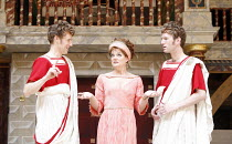 THE COMEDY OF ERRORS   by Shakespeare   director: Christopher Luscombe,l-r: Andrew Havill (Antipholus of Syracuse), Sarah Woodward (Adriana), Simon Wilson (Antipholus of Ephesus),Shakespeare^s Globe,...
