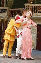 THE COMEDY OF ERRORS   by Shakespeare   director: Christopher Luscombe,II/ii - l-r: Sam Alexander (Dromio of Syracuse), Andrew Havill (Antipholus of Syracuse), Sarah Woodward (Adriana),Shakespeare^s G...