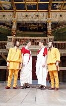 THE COMEDY OF ERRORS   by Shakespeare   director: Christopher Luscombe,V/i - l-r: Eliot Giuralarocca (Dromio of Ephesus), Simon Wilson (Antipholus of Ephesus), ,Andrew Havill (Antipholus of Syracuse),...