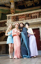 THE COMEDY OF ERRORS   by Shakespeare   director: Christopher Luscombe,IV/iv - l-r: Cate Debenham-Taylor (Courtesan), Sarah Woodward (Adriana), ,Thomas Padden (Dr Pinch), Laura Rees (Luciana),Shakespe...