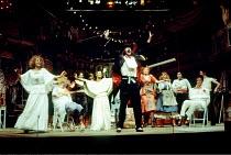 THE COMEDY OF ERRORS by Shakespeare  design: John Napier  lighting: Clive Morris  musical staging: Gillian Lynne  director: Trevor Nunn ~front, left: Francesca Annis (Luciane)   centre: Robin Ellis (D...