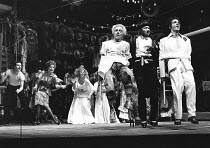 THE COMEDY OF ERRORS by Shakespeare  design: John Napier  lighting: Clive Morris  musical staging: Gillian Lynne  director: Trevor Nunn ~front right, l-r: Nickolas Grace (Dromio of Ephesus), Robin Ell...