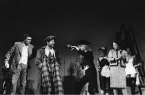 THE COMEDY OF ERRORS   by Shakespeare - director: Adrian Noble,front l-r : Peter McEnery (Antipholus of Ephesus), Henry Goodman (Dromio of Ephesus), John Dicks (Dr Pinch), Zoe Wanamaker (Adriana),Roya...
