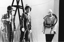 THE COMEDY OF ERRORS   by Shakespeare - director: Adrian Noble,l-r: Richard O^Callaghan (Dromio of Syracuse), Paul Greenwood (Antipholus of Syracuse), Paul Clayton (An Officer),Royal Shakespeare Compa...