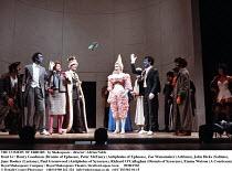 THE COMEDY OF ERRORS   by Shakespeare - director: Adrian Noble,front l-r: Henry Goodman (Dromio of Ephesus), Peter McEnery (Antipholus of Ephesus), Zoe Wanamaker (Adriana), John Dicks (Solinus), ,Jane...