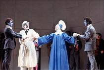'THE COMEDY OF ERRORS' (Shakespeare)~final scene/reconciliation - l-r: Paul Greenwood (Antipholus of Syracuse), Joseph O'Conor (Aegeon), Sheila Ballantine (Amelia), Peter McEnery (Antipholus of Ephesu...