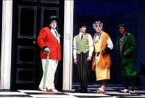'THE COMEDY OF ERRORS' (Shakespeare)~l-r: Desmond Barrit (Antipholus of Ephesus/Syracuse), Graham Turner (Dromio of Ephesus/Syracuse), Raymond Bowers (Angelo), David Sumner (Balthasar)~Royal Shakespea...