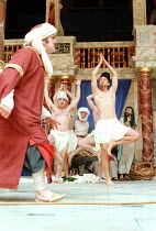 THE COMEDY OF ERRORS   by Shakespeare   design: Liz Cooke   Master of Verse: Tim Carroll  director: Kathryn Hunter <br>~left: Vincenzo Nicoli (Antipholus of Ephesus/Syracuse)~Shakespeare's Globe, Lond...