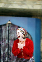 THE COMEDY OF ERRORS   by Shakespeare   design: Liz Cooke   Master of Verse: Tim Carroll  director: Kathryn Hunter <br>~Philippa Stanton (Luce/Courtesan)~Shakespeare's Globe, London SE1              0...