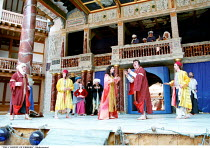 THE COMEDY OF ERRORS   by Shakespeare   design: Liz Cooke   Master of Verse: Tim Carroll  director: Kathryn Hunter <br>~final scene/reconciliation - 2 sets of twins ++~Shakespeare's Globe, London SE1...