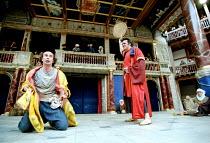 THE COMEDY OF ERRORS   by Shakespeare   design: Liz Cooke   Master of Verse: Tim Carroll  director: Kathryn Hunter <br>~l-r: Marcello Magni (Dromio of Ephesus/Dromio of Syracuse), Vincenzo Nicoli (Ant...