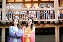 THE COMEDY OF ERRORS   by Shakespeare   design: Liz Cooke   Master of Verse: Tim Carroll  director: Kathryn Hunter <br>~l-r: Jules Melvin (Luciana), Yolanda Vazquez (Adriana)~Shakespeare's Globe, Lond...