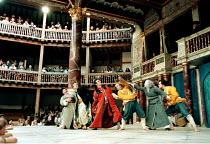 THE COMEDY OF ERRORS   by Shakespeare   design: Liz Cooke   Master of Verse: Tim Carroll  director: Kathryn Hunter <br>~centre: Antipholus (Vincenzo Nicoli) and Dromio (Marcello Magni),Shakespeare's G...