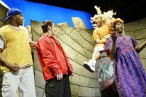 THE BOMB-ITTY OF ERRORS   based on Shakespeare's 'The Comedy of Errors' <br>,l-r: Charles Anthony Burks, Joe Hernandez-Kolski, Chris Edwards, Ranney,New Ambassadors, London WC2             07/05/2003,