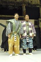THE KYOGEN OF ERRORS   based on Shakespeare^s ^The Comedy of Errors^,l-r: Mansai Nomura (Dromio), Tanro Ishida (Antipholus),The Nomura Mansaku Company / Shakespeare's Globe, London SE1        18/07/20...