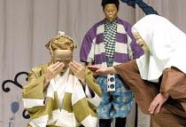 THE KYOGEN OF ERRORS based on Shakespeare's 'The Comedy of Errors',right: Mannosuke Nomura (Abbess),The Nomura Mansaku Company/Shakespeare's Globe, London SE1  18/07/2001,