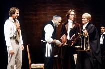 'THE MERCHANT OF VENICE' (Shakespeare)~l-r: Tom Wilkinson (Antonio), David Suchet (Shylock), Jonathan Hyde (Bassanio), Sinead Cusack (Portia), Corinna Seddon (Nerissa)~Royal Shakespeare Company (RSC)...