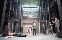 THE MERCHANT OF VENICE   by Shakespeare - director: Peter Zadek,left: Paulus Manker (Bassanio), (on floor) Ignaz Kirchner (Antonio), centre: Martin Seifert (The Doge), Eva Mattes (Portia)  centre righ...