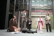 THE MERCHANT OF VENICE   by Shakespeare - director: Peter Zadek,l-r: Paulus Manker (Bassanio), (on floor) Ignaz Kirchner (Antonio), Gert Voss (Shylock), Wiebke Frost (Nerissa), Martin Seifert (The Dog...
