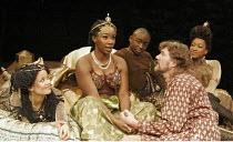 'ANTONY AND CLEOPATRA' (Shakespeare - director: Braham Murray),l-r: Gugu Mbatha-Raw (Iras), Josette Bushell-Mingo (Cleopatra), Ali Sichilongo (Mardian), Tom Mannion (Antony), Sarah Paul (Charmian),Roy...